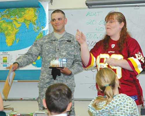 BBCCNews/LeeAnn Lyall<br /><br /><!-- 1upcrlf2 -->Army Sgt. Micah Leonard answers questions from Jamie Radford's 5th grade class at Mayer on Aug. 22.
