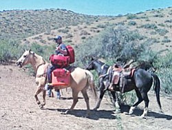 Firefighter Ryan Trask, loaded with his life support gear, gets ready to ride to the rescue of a man who had chest pains rounding up cattle on Orme Ranch.<br> Courtesy Photo/Mayer Fire Dept.