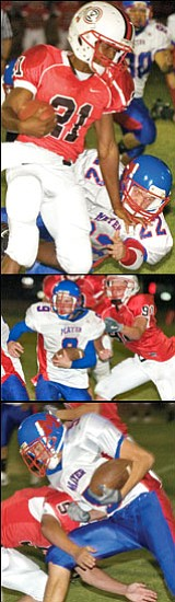 <b>Top photo:</b> Orme's Alonzo Broom, No. 21, had a huge game in Friday night's opener at Orme. <b>Center photo:</b> David Atkeerson, No. 9, carries for Mayer. <b>Bottom photo:</b> Orme's Alex Curtis, No. 5, goes for the tackle against Mayer's Blake Ambrose, No. 5.<br> Photos courtesy Matt Hinshaw
