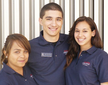 Mayer grad Justin Van Horne, center, along with Yoshira Ornelas, left, and Kelsey Castellano, is one of the University of Arizona's Arizona Assurance Peer Mentors who will help incoming freshmen adjust to university life, and will outreach to middle school students who might benefit from the Assurance Scholar program, which provides financial aid and support to potential UofA students.<br> Courtesy Photo