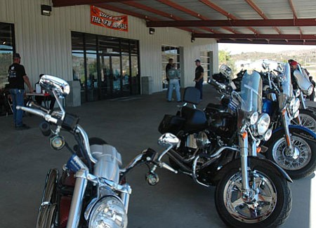 Participants in the Ride for Kicks fundraiser on Sept. 26 make their first of seven stops at event sponsor Grand Canyon Harley-Davidson in Mayer.<br> Photo courtesy Andrew Draper