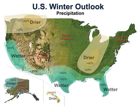 National Weather Service prediction shows Arizona has equal chance this winter of drier or wetter conditions, regardless of El Niño phenomenon.<br> Courtesy National Oceanic and Atmospheric Administration