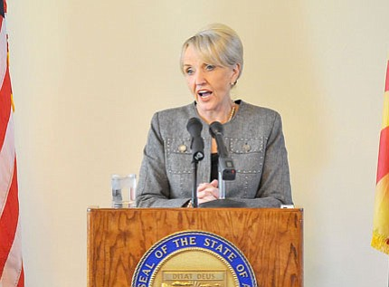 Gov. Jan Brewer, shown here in Prescott last week, is proposing several ways to balance the state's beleaguered budget.<br> Photo courtesy Matt Hinshaw