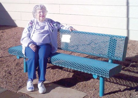 Betty Digges and her 'birthday bench.'<br> BBNPhoto/Pat Williamson
