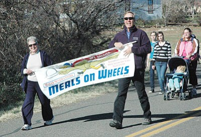 BBN FilePhoto/Heidi Dahms Foster<br> County Supt. Tom Thurman, right, leads the 2010 March for Meals in Mayer.
