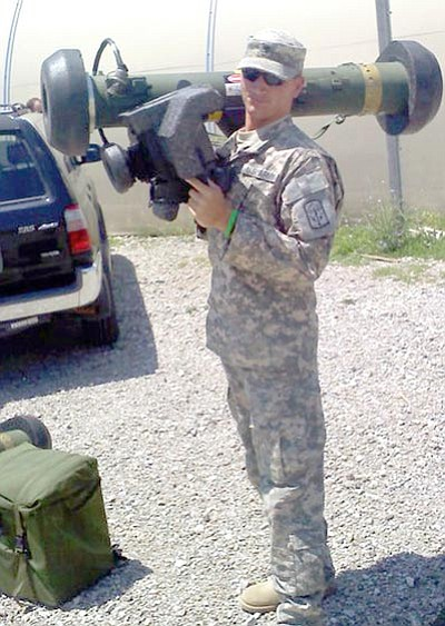 Courtesy Photo<br /><br /><!-- 1upcrlf2 -->Chance Phifer, 24, traveled to Indiana this spring to train on the Javelin, a rocket launcher. He is stationed in Ft. Benning, Ga., and is the son of Rebecca Leatherwood who is founding a new chapter of Blue Star Mothers.<br /><br /><!-- 1upcrlf2 -->