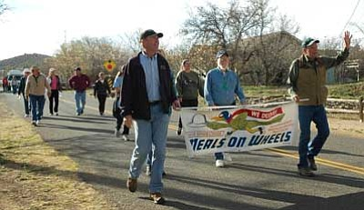 BBNPhoto/Cheryl Hartz<br /><br /><!-- 1upcrlf2 -->Dist. 2 Yavapai County Supervisor Tom Thurman and Mayer Justice of the Peach Bill Rummer lead the Mayer March for Meals Saturday to raise money for Mayer Area Meals on Wheels.
