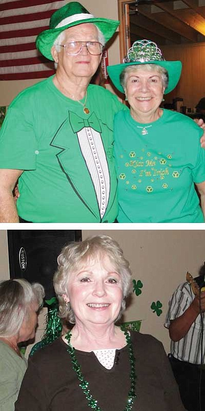 Top Photo: Eddie Foster and Jean Chester were the Wearin' of the Green winners.<br /><br /><!-- 1upcrlf2 -->Bottom photo: Peggy Meyer is happy with her door prize. <br /><br /><!-- 1upcrlf2 -->