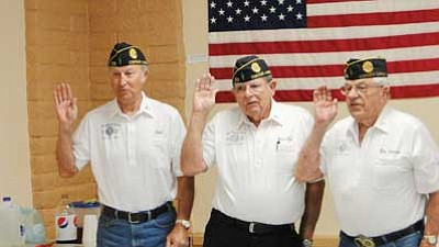 BBNPhoto/Pat Williamson<br /><br /><!-- 1upcrlf2 -->American Legion Post 122 officers installed at a May 5 potluck and ceremony included from left, Sgt. at Arms Jack Williamson, Chaplain Bob Canell, and Cmdr. Ron Johnson. Not pictured are Treasurer Chuck Leon, Vice Cmdr. Doug Irvine, and Service Officer Chuck Larendeau.