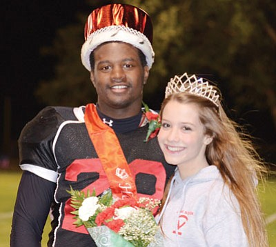 TyReice Mustin and Laura Travis were crowned Orme School Homecoming King and Queen during halftime ceremonies Friday night.<br> BBNPhoto/Heidi Dahms Foster