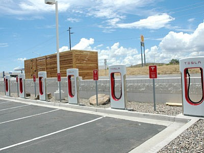 The Tesla charging station at the Shell in Cordes. The station should be up and running within a few days. (BBN photo/Cheryl Hartz)