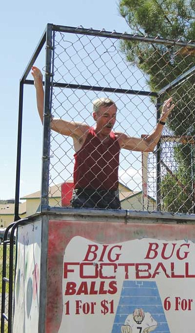 Tom Thurman is in the dunk tank on his way down. (Courtesy photo)