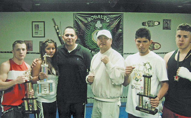 Courtesy Photo (L-r) Elijah Osborne, Amanda Honwytewa, Sensei Tony Rosales, trainer Richard Williams, Victor Romero and Eric Trahin.