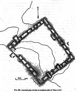 Cosmos Mindeleff was the first person to describe the Wingfield Pueblo Mesa in detail. This drawing of the ruin was included in the 1891-1892 report of the Bureau of Ethnology.
