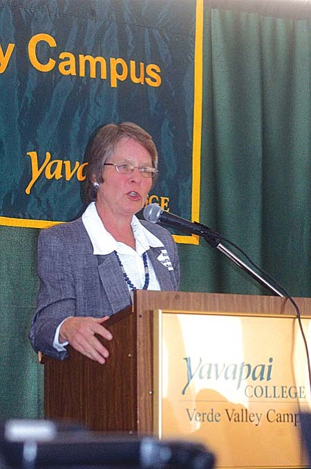 "VVN/Steve Ayers -- Over 100 people attended Friday's Symposium on the State of the Verde Valley hosted by the Verde valley Regional Economic Organization. Chairman Robyn Prud'homme-Bauer described the current state of valley's economy as having a ""solid base"" on which to grow ""but not without its challenges."""