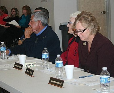 VVN/Raquel Hendrickson<br/>From left, Miguel Hernandez, Norma Dieffenbach and Karin Ward from Beaver Creek School get tough news from the Joint Meeting of Verde Valley school boards. Other schools attending included Camp Verde Unified, Sedona, Mingus Union, Cottonwood-Oak Creek and VACTE.