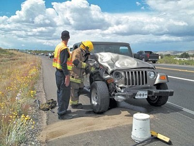 Courtesy Camp Verde FD<br> Two people were transported to the hospital after a two-vehicle collision on State Route 260.