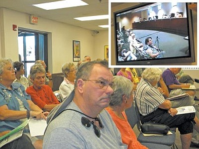 VVN/Jon Hutchinson<br> Many Verde Valley residents watched the county proceedings in Prescott via teleconference in the Board of Supervisors meeting room in Cottonwood.