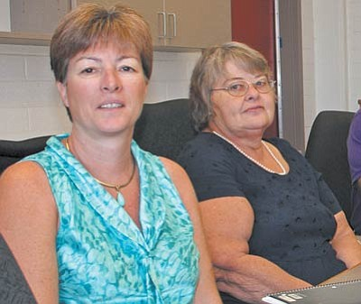 Business managers Lynn Leonard (left) of Beaver Creek School and Janet Leuer of Camp Verde Unified School District.
