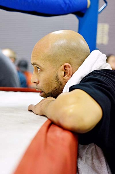 <b>Chris Mack</b> corners one of his fighters from Blended Arts Dojo Dec. 10 at Steve Coury car dealership between Cottonwood Camp Verde. Mack was in Vier's corner for the title fight. VVN/Sean Morris
