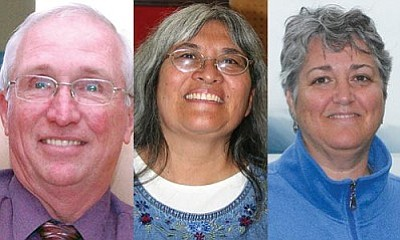 According to the unofficial results of Tuesday's election, top vote-getters for the Camp Verde School Board are (from left) Bob Simbric, Helen Freeman and Christine Schneider.
