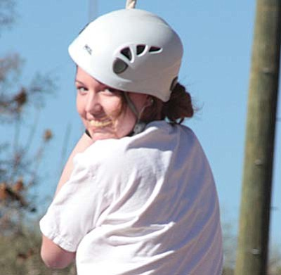 "Photos courtesy Mary Lue Allen<br /><br /><!-- 1upcrlf2 -->""Yeah!  I did it!"" says Danielle Wolf after her first zipline"