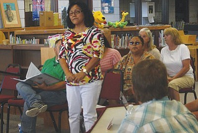 VVN/Raquel Hendrickson<br> Leona Wathogoma, JOM manager, talks to a combined meeting of the Camp Verde School Board and the Yavapa-Apache Nation Tribal Council about the tutoring program on June 14.