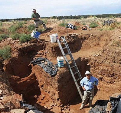 """According to VVAC's Jeanne Smith, tons of dirt drifted in over the centuries at Champagne Springs, """"and in order to really know what is under those intriguing mounds, all those tons of dirt have to be moved. I don't see any dirt movers. So, that is where we come in."""" Courtesy photo by R. J. Smith"""