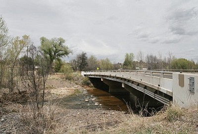The pedestrian bridge will be installed about 10 feet to the west (downstream) of the Lake Montezuma Bridge. VVN/Bill Helm.