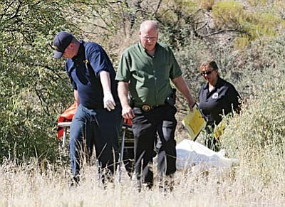 Camp Verde Marshal's Office and Yavapai County Medical Examiner's Office respond early Monday morning to a report of a dead body found on Cliffs Parkway on the north side of the Maverik gas station. Late Tuesday morning, authorities identified the deceased as 67-year-old Camp Verde resident Sally Newton. VVN/Bill Helm
