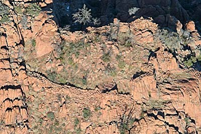 Joe Vogel shot this photograph on the east end of the Agua Fria National Monument in August 1999. Since his inaugural trip searching for ruins, Vogel has photographed more than 900 sites and has found landscape variances that have led to the identification of prehistoric sites. Photo courtesy Joe Vogel.