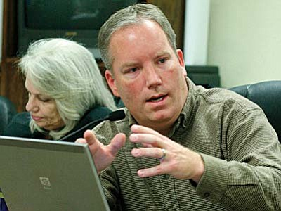 Camp Verde Town Manager Russ Martin says the increase in the town's Transaction License Privilege and Use taxes to 3.65 percent is an opportunity to fund additional Capital Improvements Projects. VVN Photo by Bill Helm<br /><br /><!-- 1upcrlf2 -->