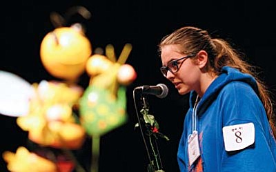 Beaver Creek School eighth grader Emily Worden compete in the 69th Annual Yavapai County Spelling Bee at the Phillip England Center for the Performing Arts in Camp Verde. VVN photo by Bill Helm