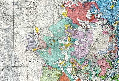 The Arizona Geological Survey (AZGS) is releasing a new contributed geologic map of the Page Springs quadrangle by Dr. Richard F. Holm, Associate Professor Emeritus, Northern Arizona University. The map product includes a 16-page report with rock descriptions, a correlation sheet, and 4 map plates showing the distribution of rocks, volcanic vents and specimen samples.