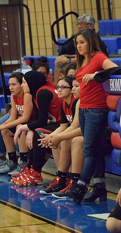 irst-year Varsity Head Coach Briana Young looks on as her team takes on Camp Verde during Friday's scrimmage. (Photo by Greg Macafee)