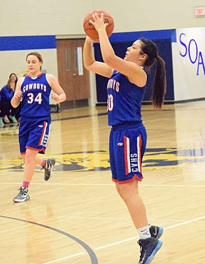 Camp Verde senior point guard Gabby Ontiveros shoots a three during their match up with Glendale Prep earlier this week. (Photo by Greg Macafee)
