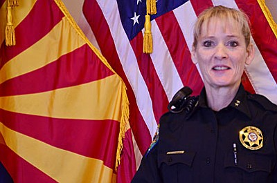 Jacquelyn MacConnell, new commander with the Camp Verde Marshal's Office, says that community is an important part of the job. (Photo by Aryssa Carvalho)