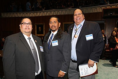 Thomas Beauty, left, Chairman of the Yavapai-Apache Nation's Tribal Council, is also president of the Inter-Tribal Council of Arizona. At the 21st Annual Indian Nations and Tribes Legislative Day, Beauty is pictured with Louis Manuel, chairman of the Ak-Chin Indian community and Stephen Lewis, governor of Gila River Nation. (Photo by Don Decker, Yavapai-Apache News)