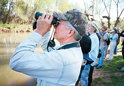 Camp Verde resident and resident birder Chip Norton, foreground, will help lead a birding excursion at 8:30 a.m. Sunday. (Photo by Bill Helm)