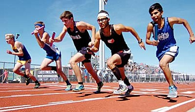Brandon Cruz (far right) takes off with the rest of the lead runners in the 4x800 relay during the Yavapai County track meet at Bradshaw Mountain High School Friday afternoon. Photo by Les Stukenberg/The Daily Courier<br /><br /><!-- 1upcrlf2 -->
