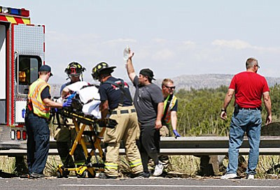 Crews extricated the driver, who was and treated, and then flown via air medical helicopter to Flagstaff Medical Center for evaluation and treatment. (VVN/Bill Helm)<br /><br /><!-- 1upcrlf2 -->