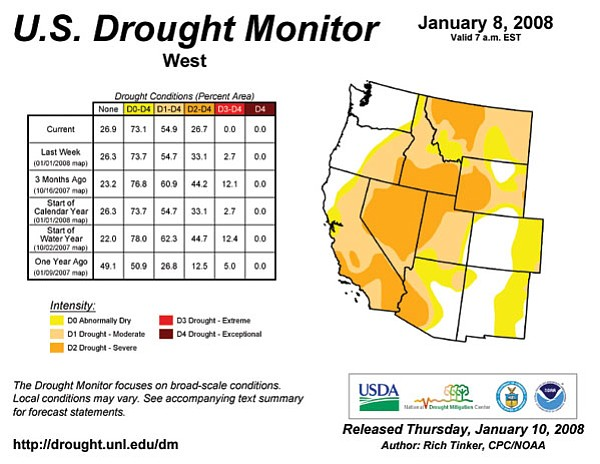 The US Drought Monitor releases a map each week to show the intensity of a long-term drought in the Southwest.