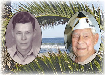 Chino Valley resident and Pearl Harbor survivor, Les Auge, above left in 1941 in the Army, and above right, today, wearing his Pearl Harbor hat.
