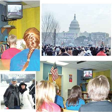 Del Rio Elementary School students watch a video slideshow Friday January 23, 2009, of the inauguration of President Barak Obama, a presentation that teacher Patti LaFleur took and prepared for the schoolwide broadcast.(Top left and bottom right)  Steve and Patti Allen-LaFleur, bottom left, pose for a photo in front of the Capitol in Washington, D.C. in the days before the inauguration on Jan. 20. Top right, the crowd near the Capitol.