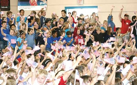The Chino Valley American Legion sent this photo of a Veterans Day assembly at Del Rio Elementary School in a goodie box for the Troops.<br /><br /><!-- 1upcrlf2 -->Courtesy photo<br /><br /><!-- 1upcrlf2 -->
