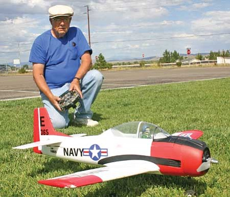 Review/Salina Sialega<br /><br /><!-- 1upcrlf2 -->Chino Valley resident and model plane builder, Dennis O'Connor, shows a foam model plane of a Hawker Sea Fury. along with the controls that he enjoys using to fly it.