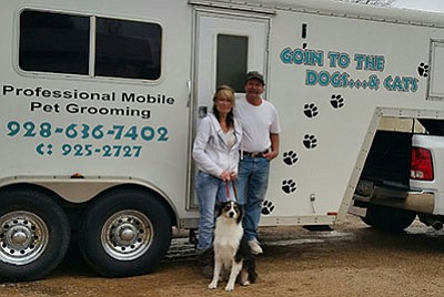 Paulden residents Michelle and Russell White operate a mobile pet grooming business. (Courtesy photo)