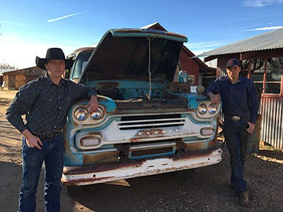 Chino Valley High sophomores Charlie Bloomfield (left) and Tyler Plumb are trying to restore a 1959 Chevrolet Viking truck that belonged to the Cooper family. (Ken Sain/Review)