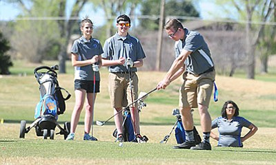 Chino Valley golfer Tyler Gianfrancesco tees off on the first hole of the Antelope Hills Golf Course as they face Kingman, River Valley and Wickenburg Thursday afternoon in Prescott. (Les Stukenberg/PNI)