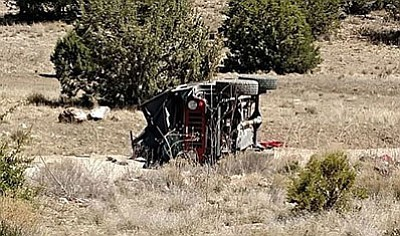 One man was killed and two boys injured in this Jeep rollover that happened Sunday about 13 miles east of Chino Valley on Perkinsville Road. (Courtesy YCSO)